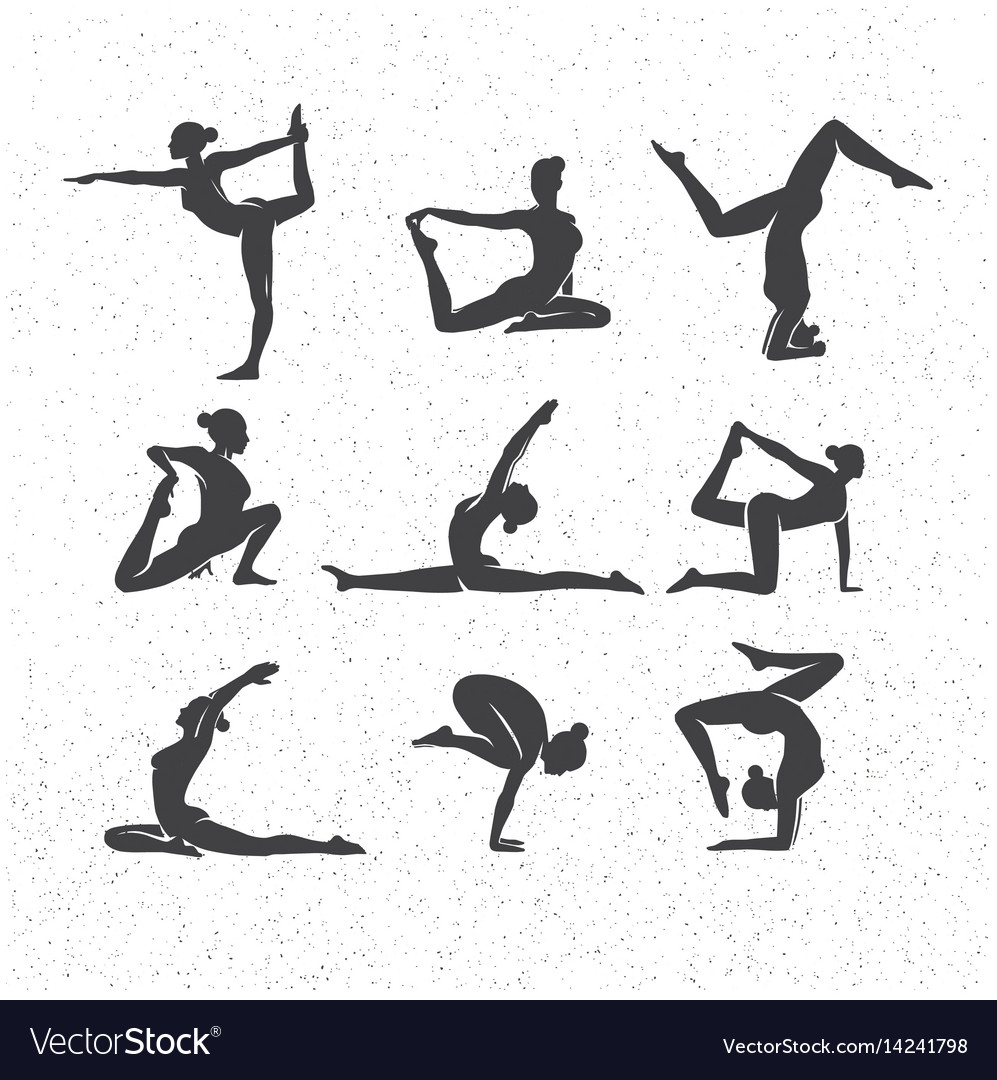 Icons of woman silhouettes in yoga poses