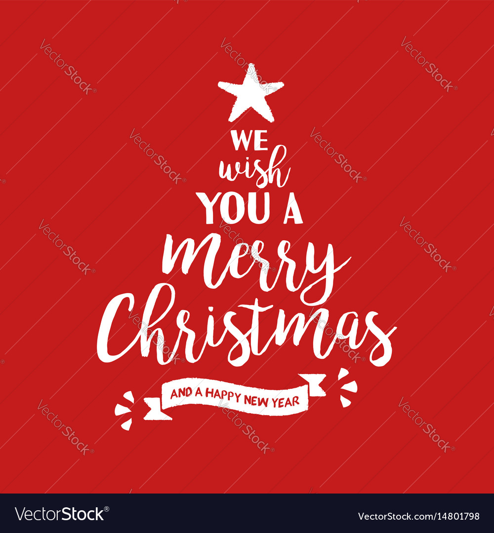 Merry christmas quote tree lettering Royalty Free Vector
