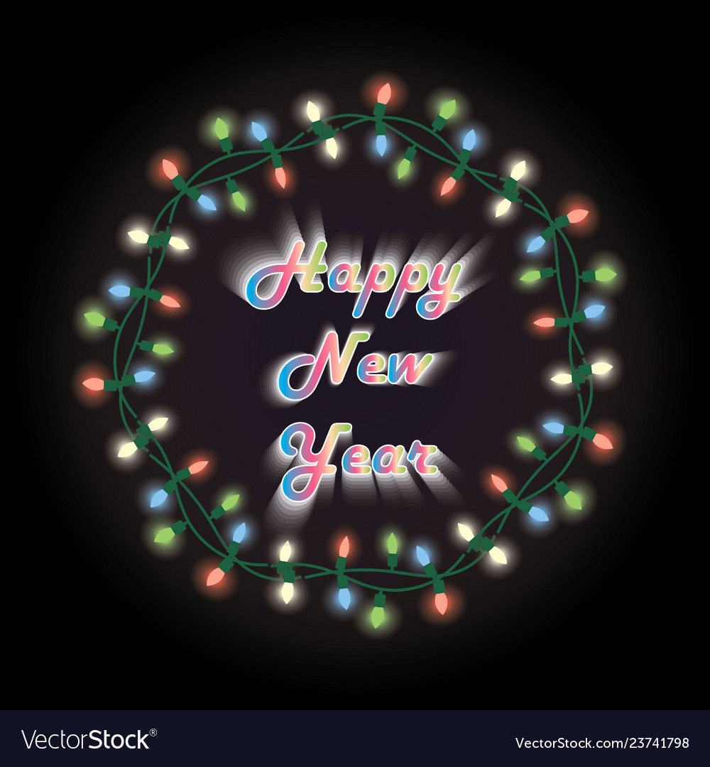 New year card christmas wreath with electric