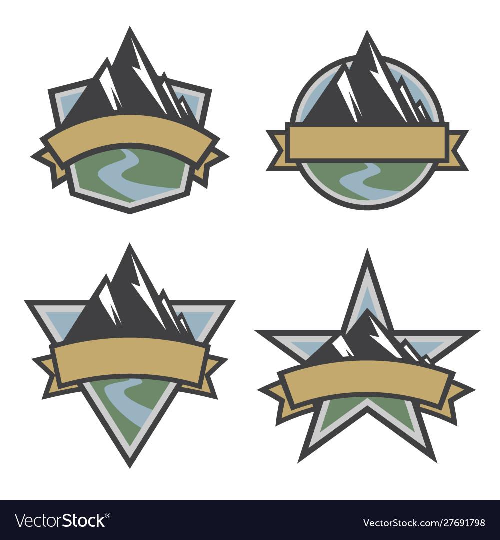 Outdoor travel scenic mountain logo set