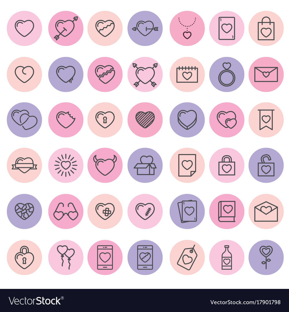 Set of 42 simple icons with heart