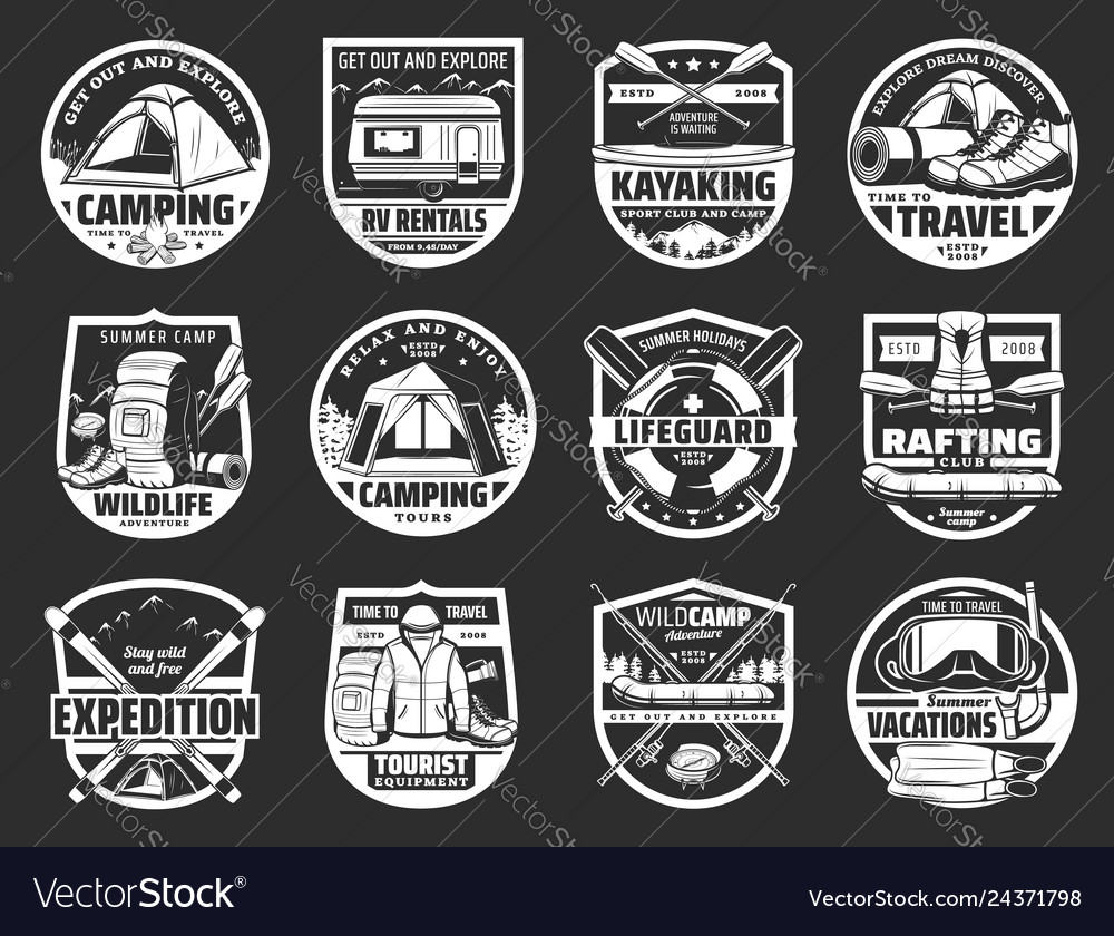 Tourism and travel symbols and signs isolated