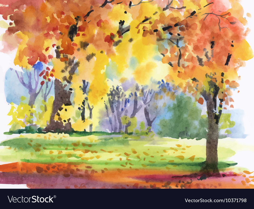 Watercolor autumn park yellow trees