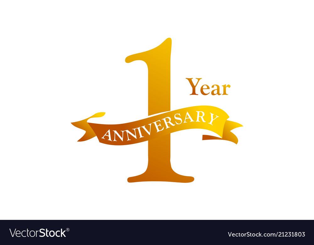 1 ribbon anniversary logo design template vector image vectorstock