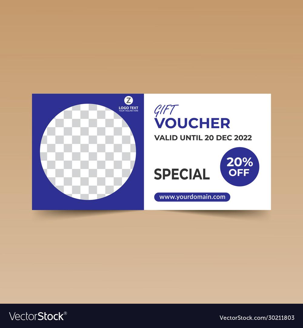 Blue gift voucher design template