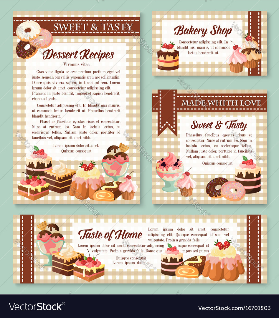 cake and bakery shop banner with pastry desserts vector image