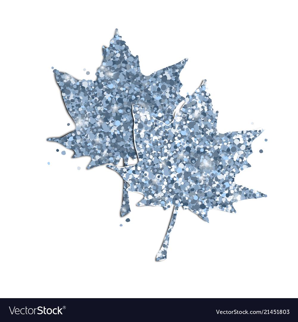Cute glitter maple leaves on white