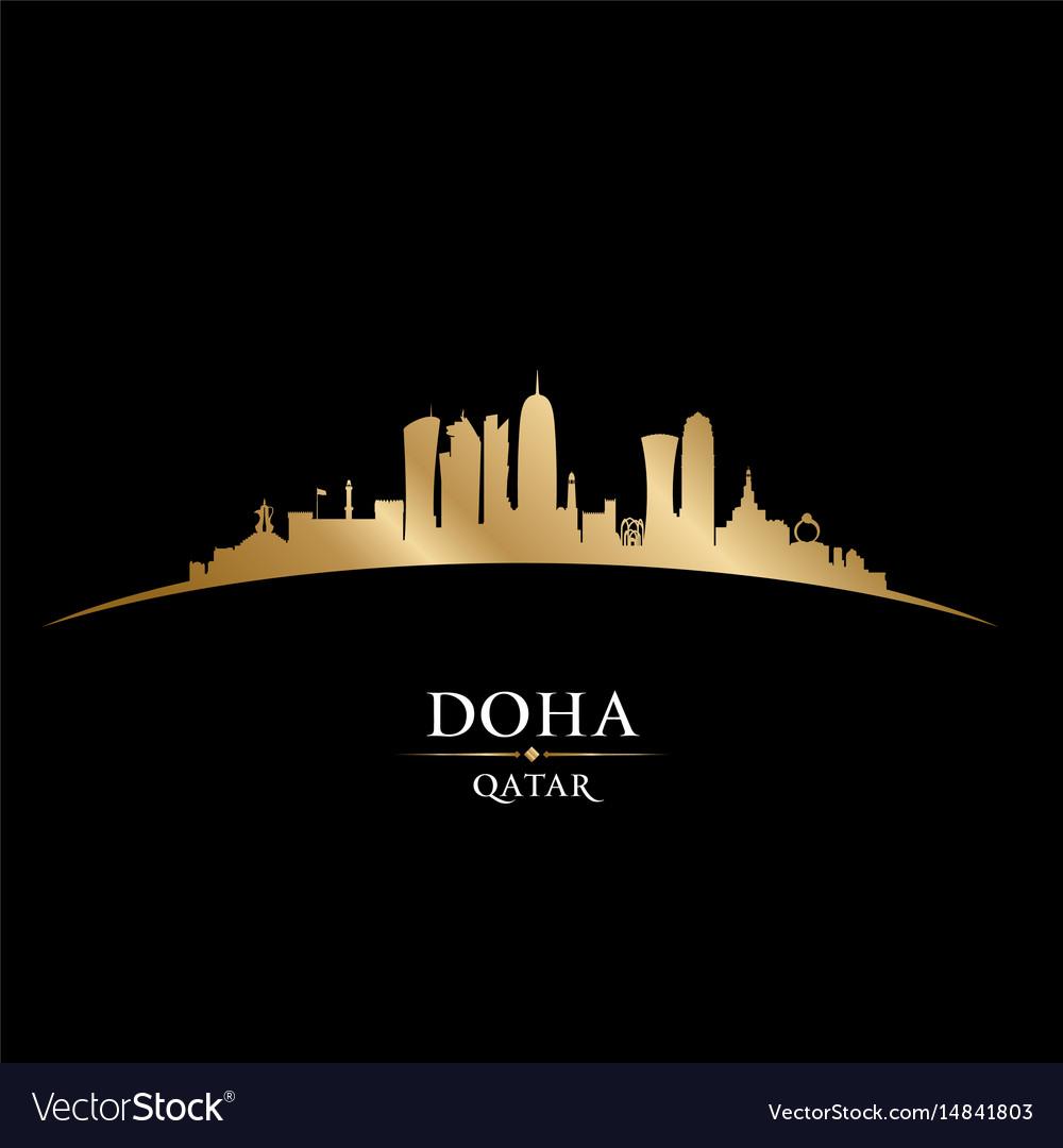 Doha qatar city skyline silhouette black