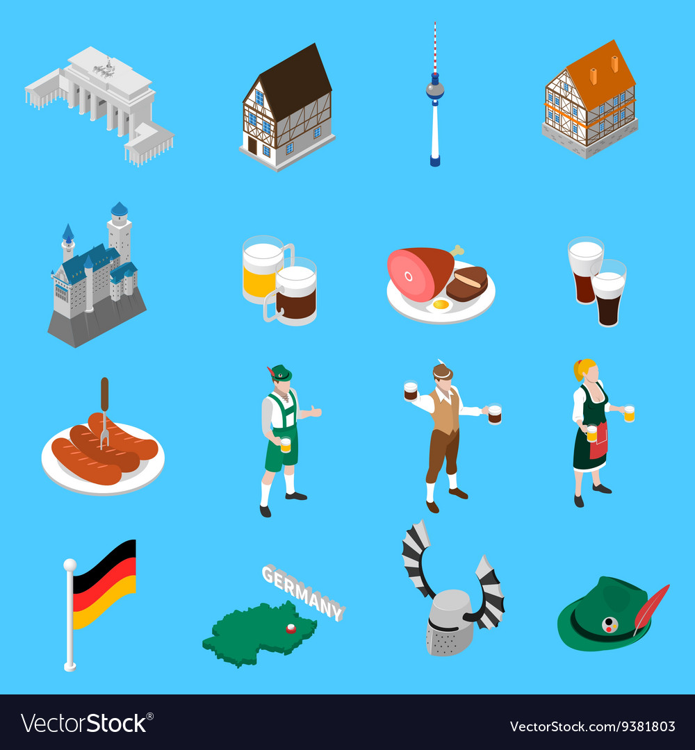 German Culture Traditions Isometric Icons