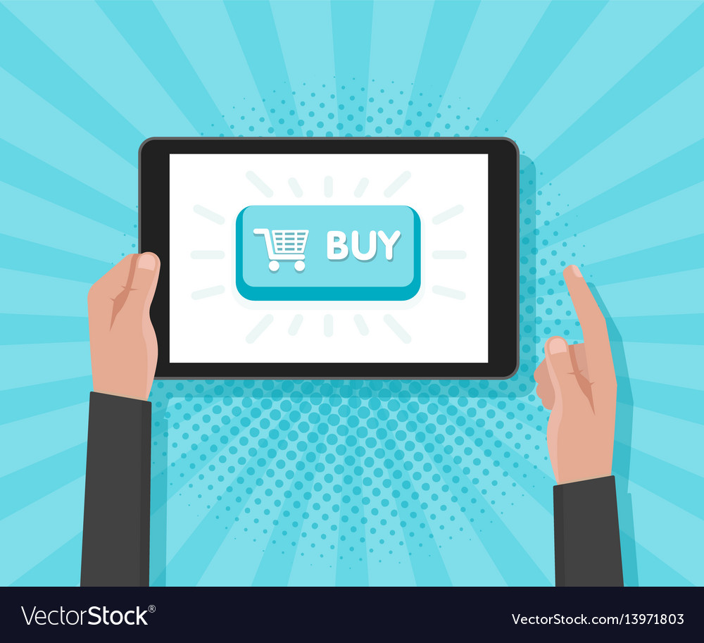 Man hand hold tablet computer with website vector image