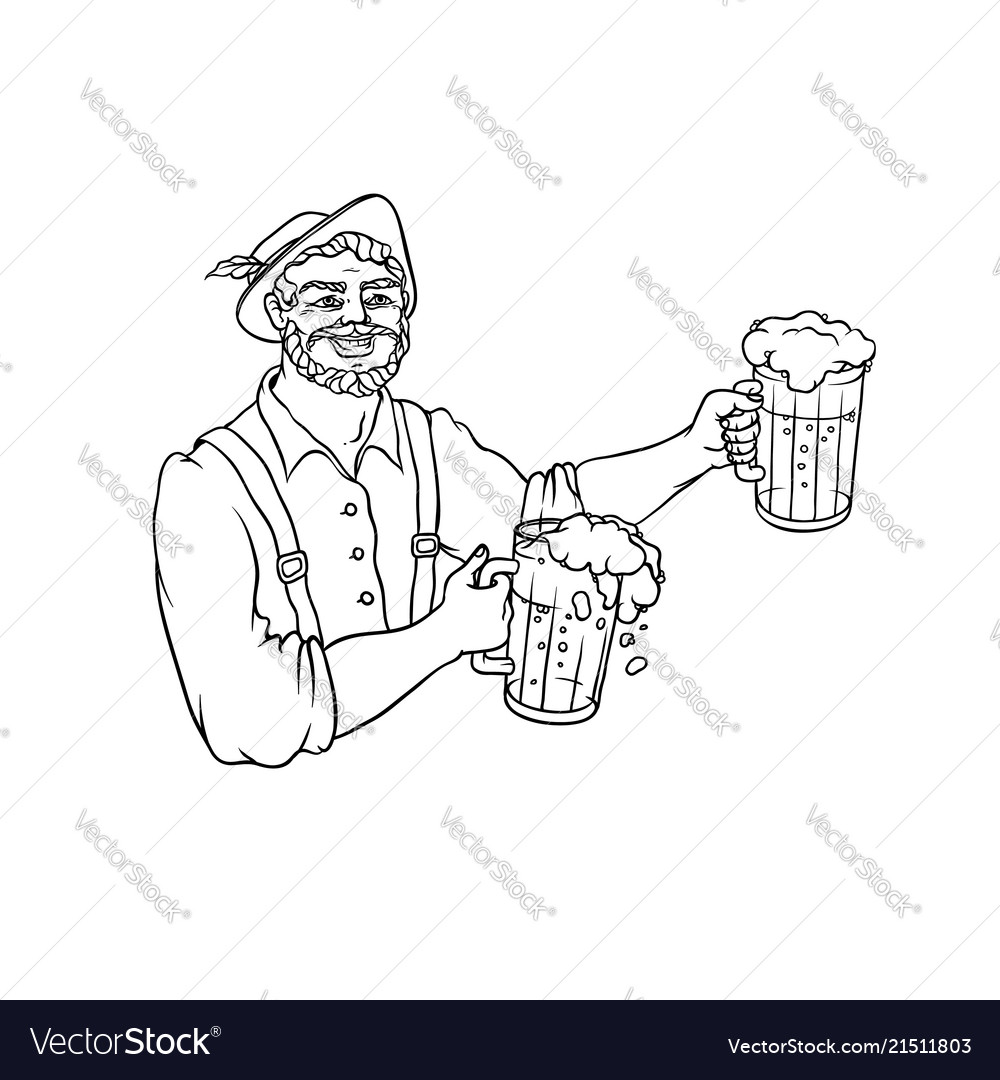 Man waiter in national costume with mugs