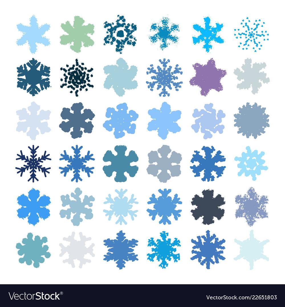 Random grainy snowflakes set
