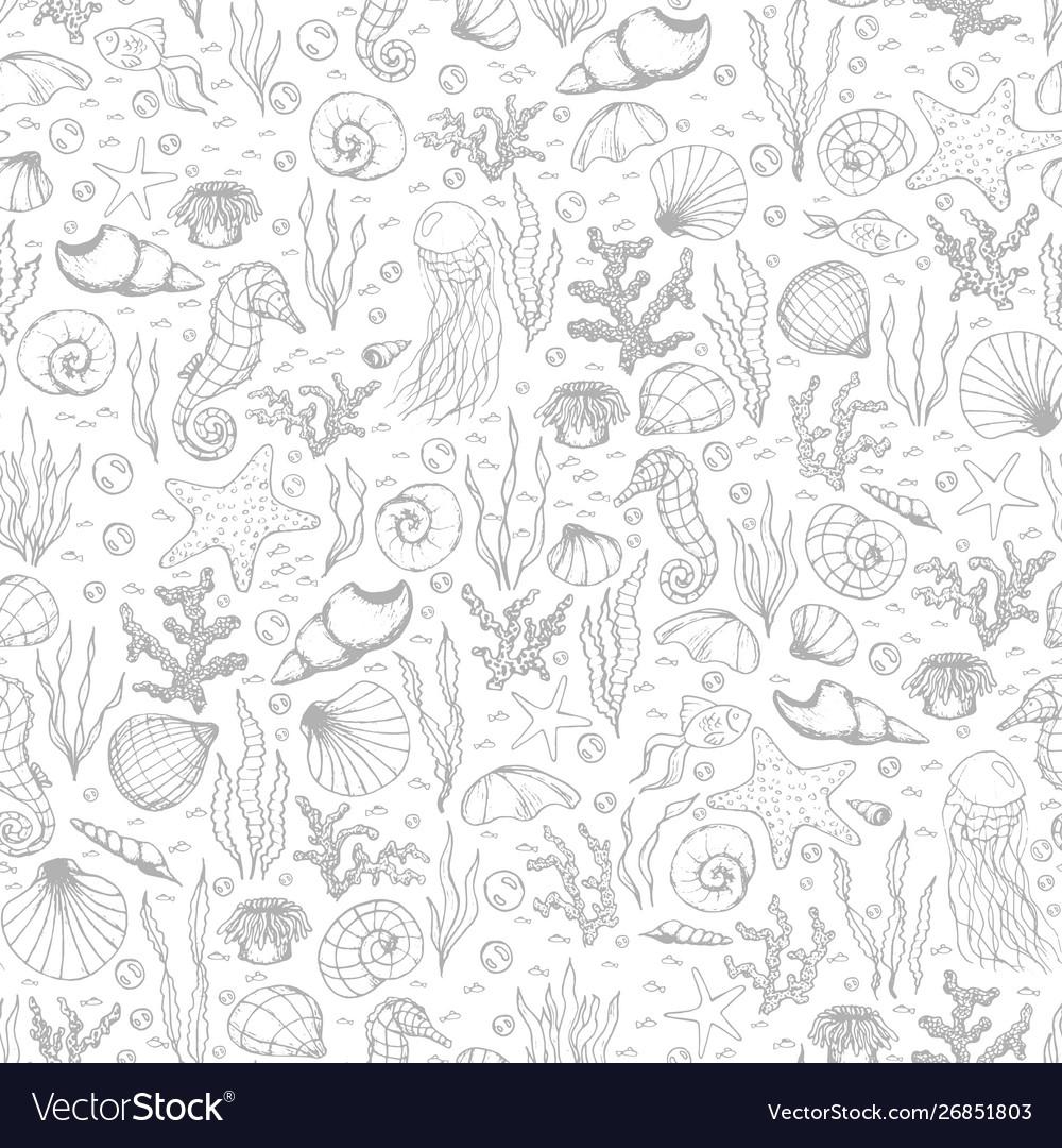 Sea life pattern with seashells seaweed coral
