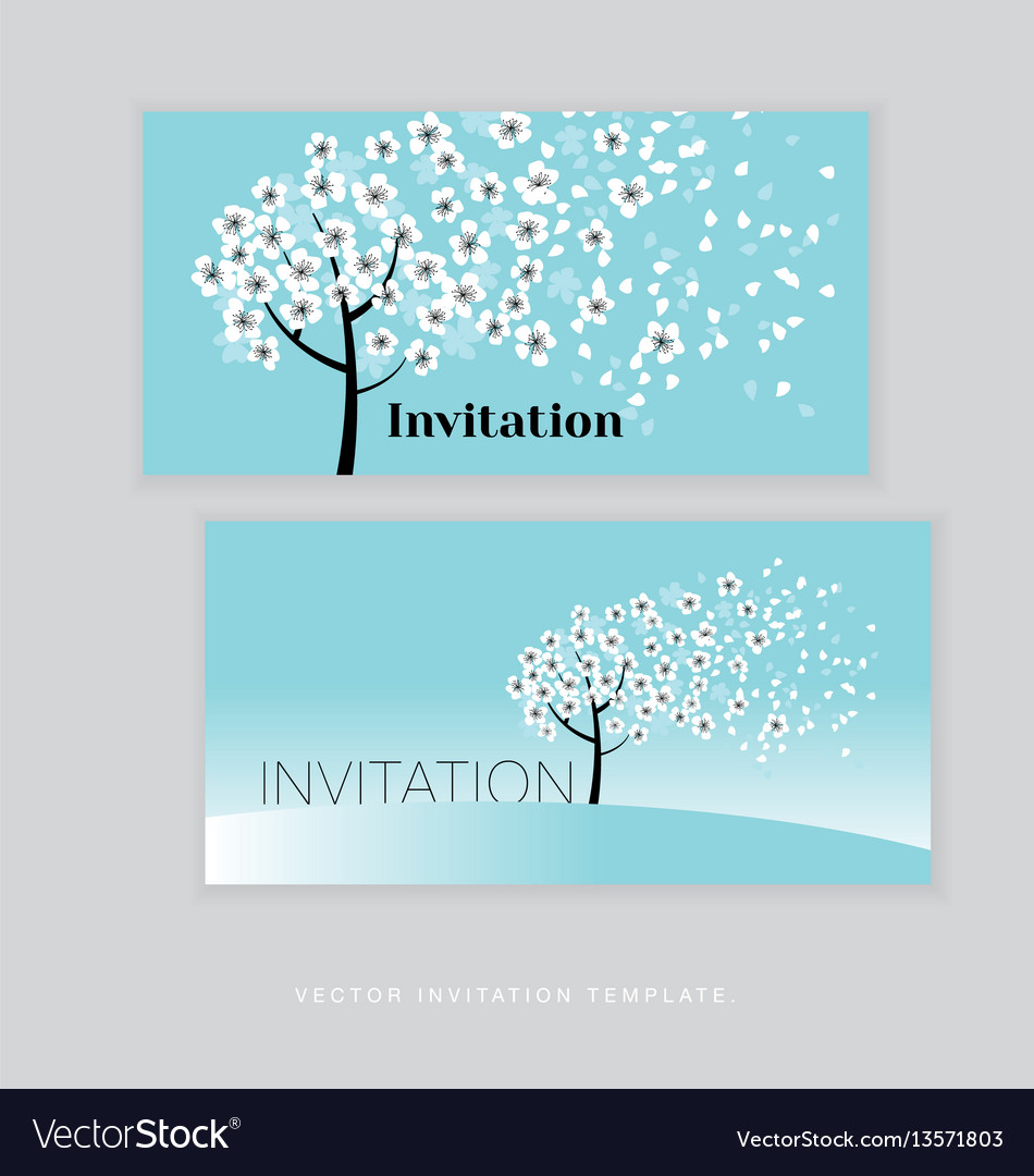 Spring blossom invitation card template simple vector image stopboris Gallery