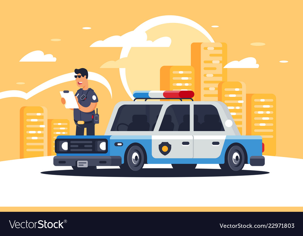 Urban modern sedan police car with policeman for