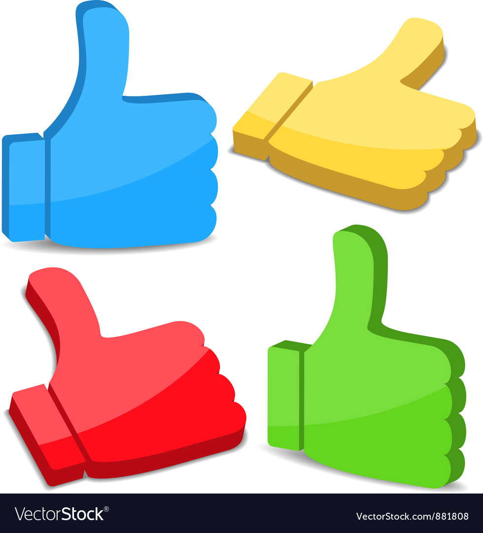 3D Thumbs Up Icons vector image