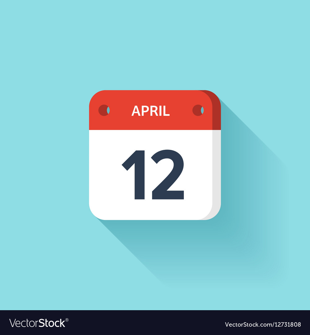 April 12 Isometric Calendar Icon With Shadow