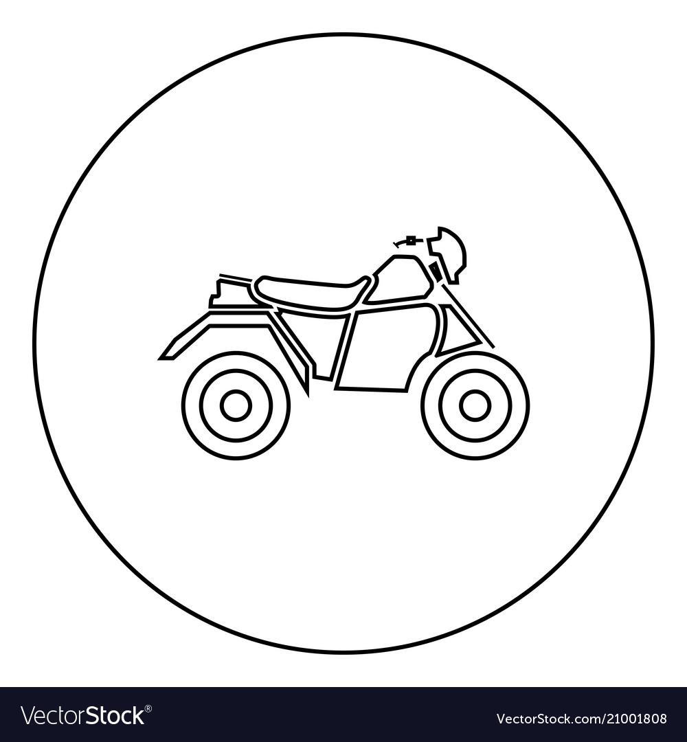 Atv motorcycle on four wheels black icon in