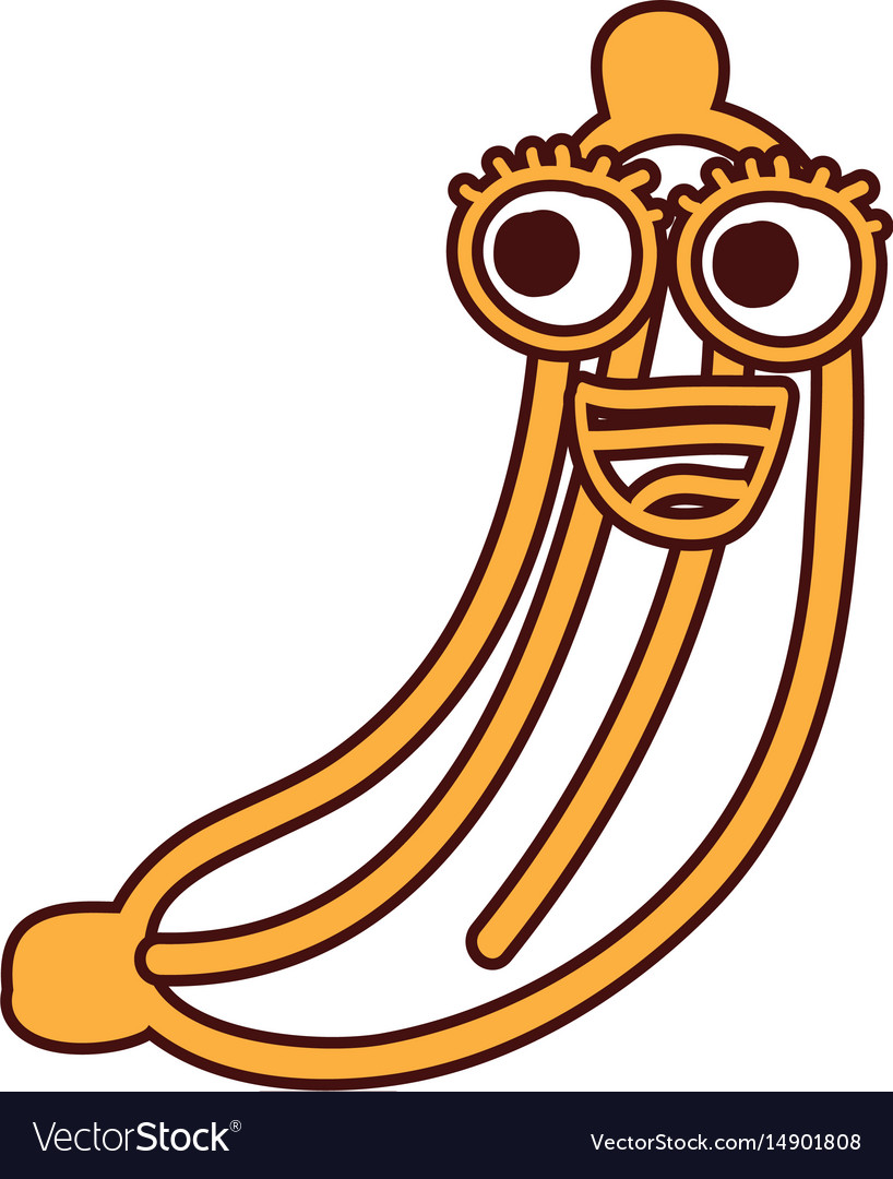 Banana fruit kawaii character vector image