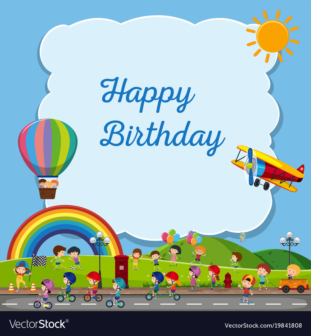 Astounding Birthday Card Template With Kids In The Park Vector Image Funny Birthday Cards Online Fluifree Goldxyz