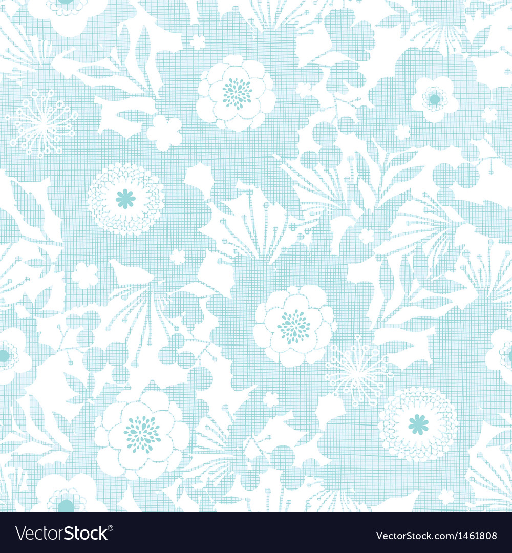 Blue fabric texture garden silhouettes seamless vector image