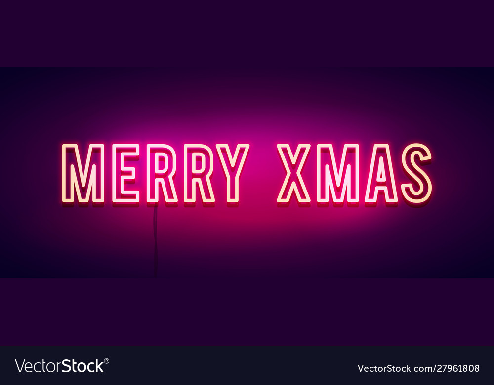 Colorful merry christmas neon sign banner