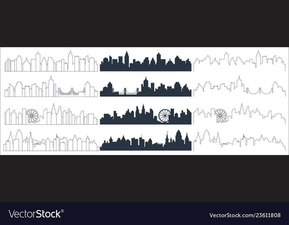 Complex line continuous line and flat black city