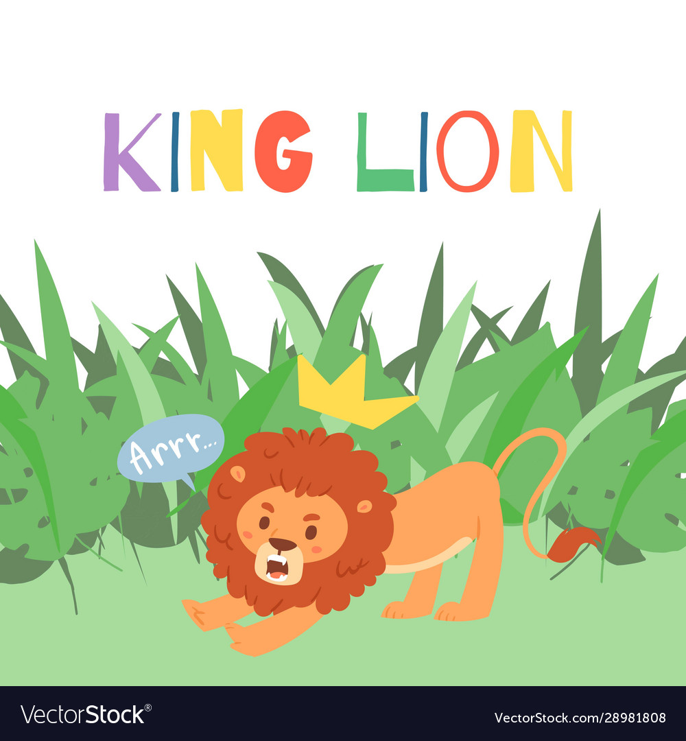 Cute lion cartoon in exotic