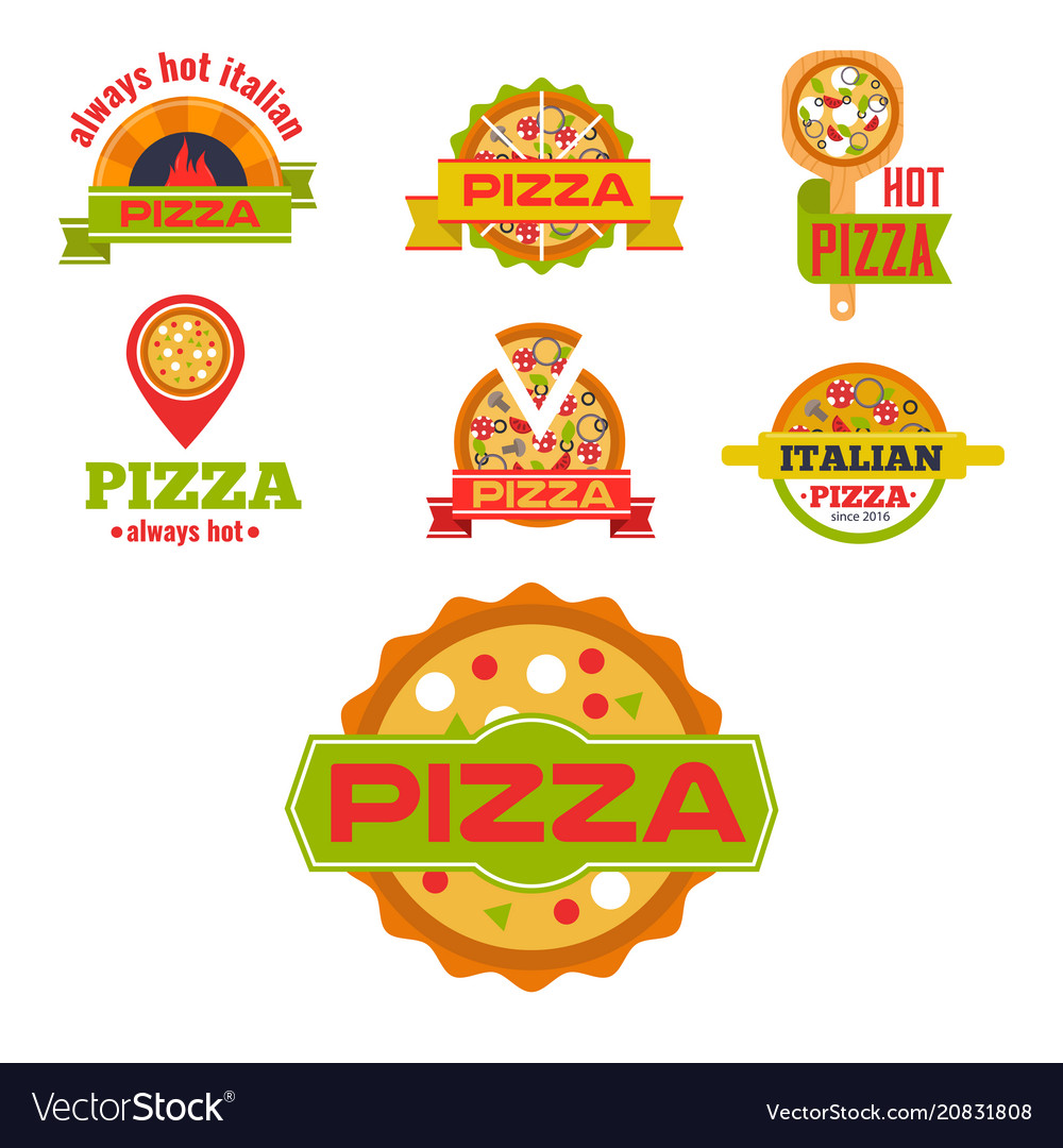 Delivery pizza logo badge pizzeria