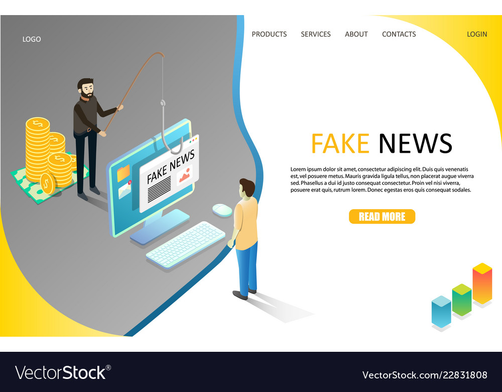 fake news landing page website template royalty free vector