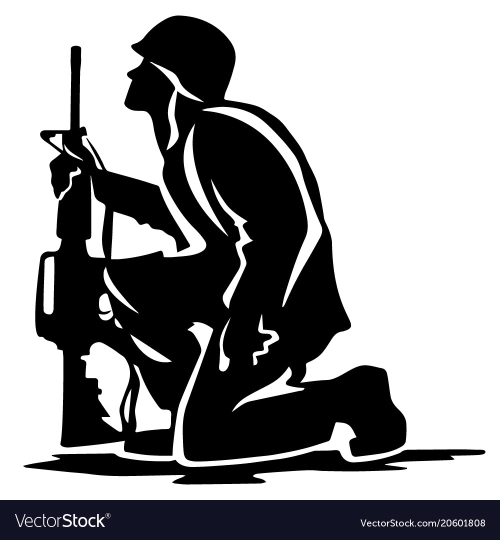 military soldier kneeling silhouette royalty free vector