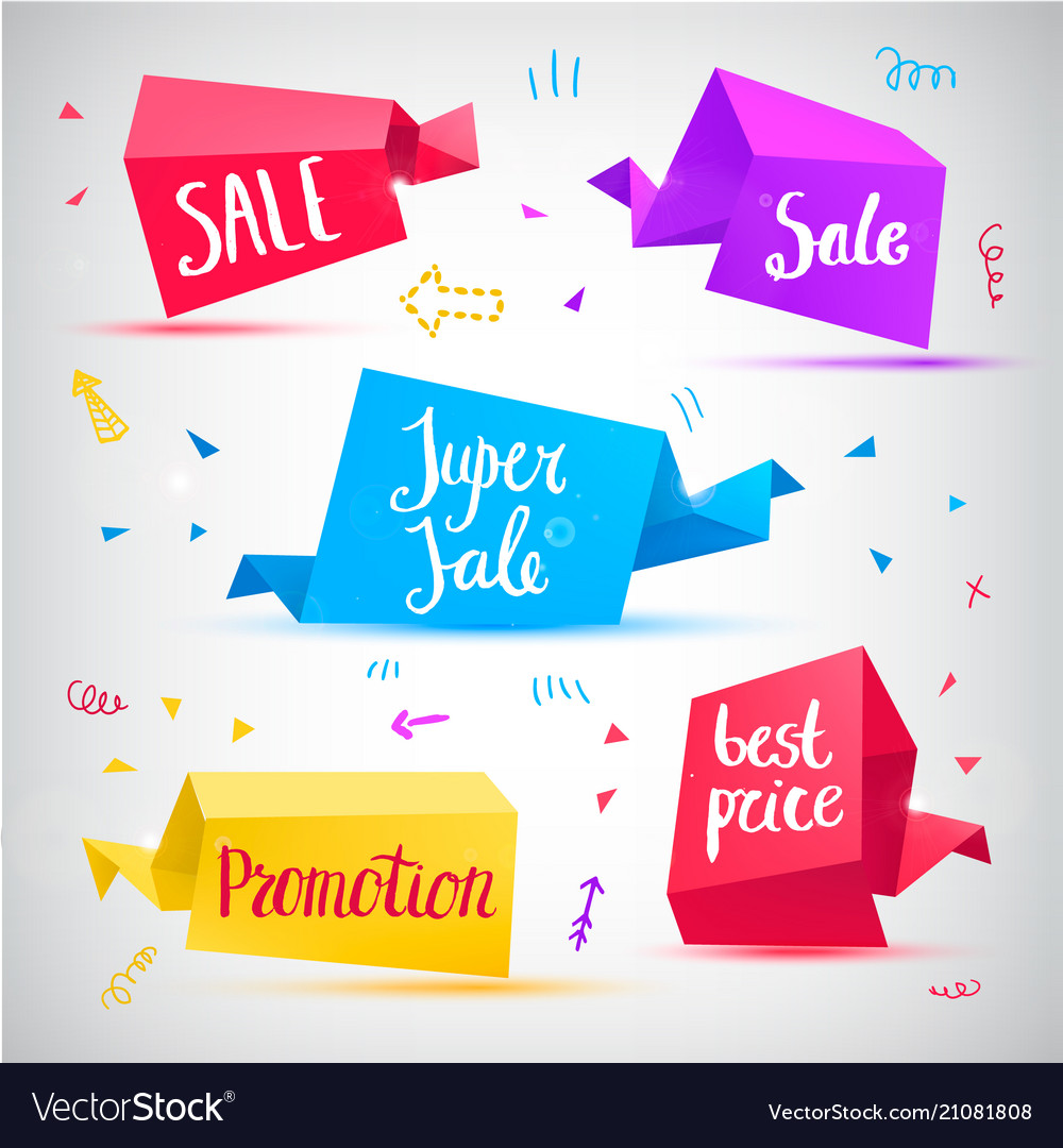 Set of 3d banners tags
