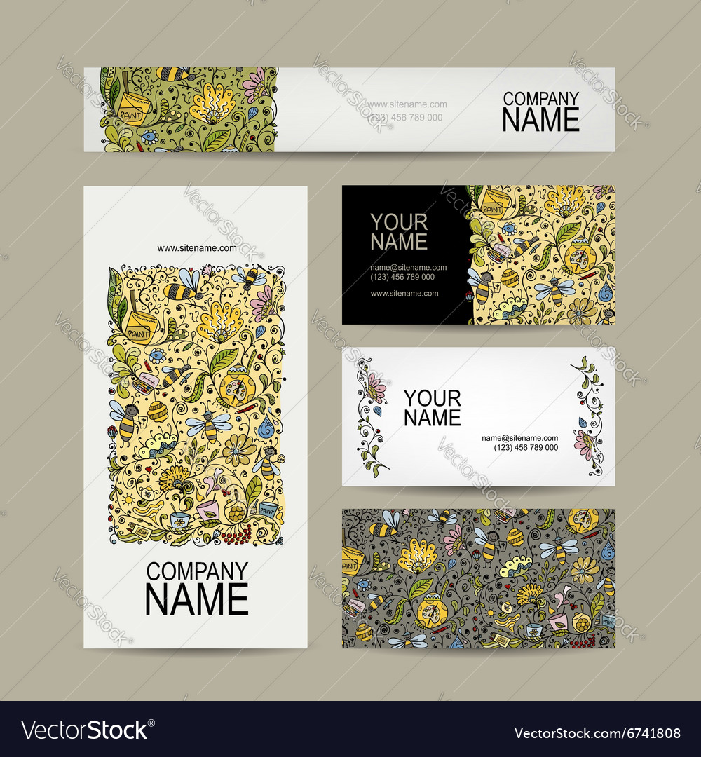 Vintage business cards floral honey design vector image reheart Choice Image