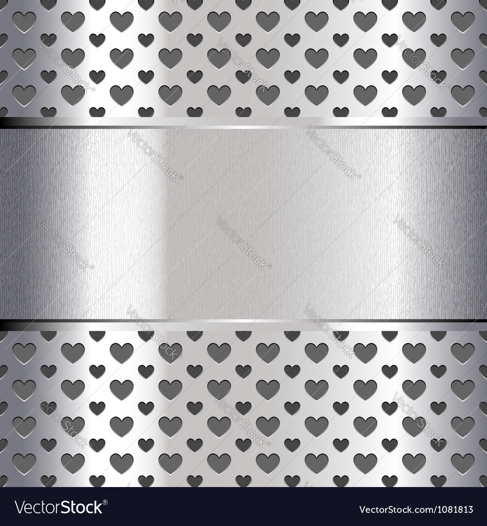 Background perforated shape heart metallic texture