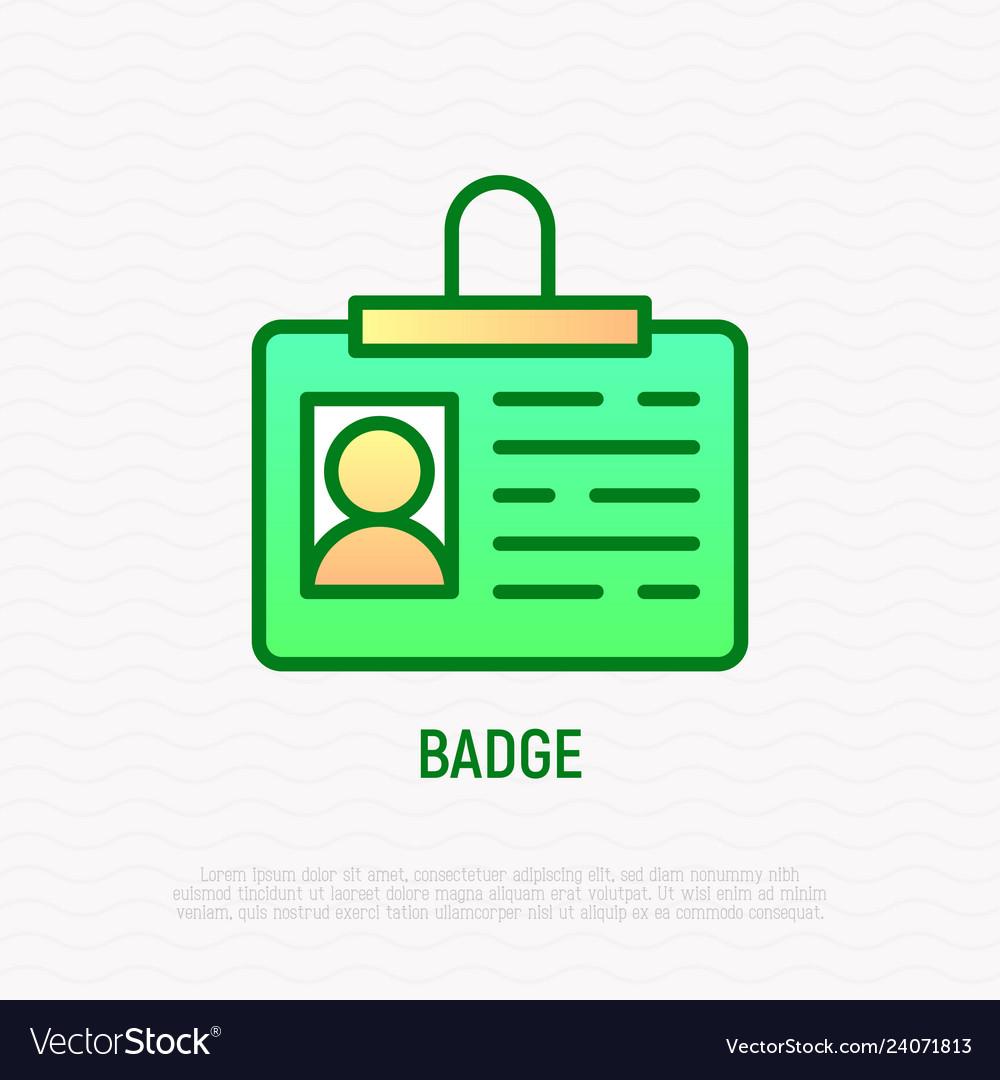 Badge thin line icon identity card