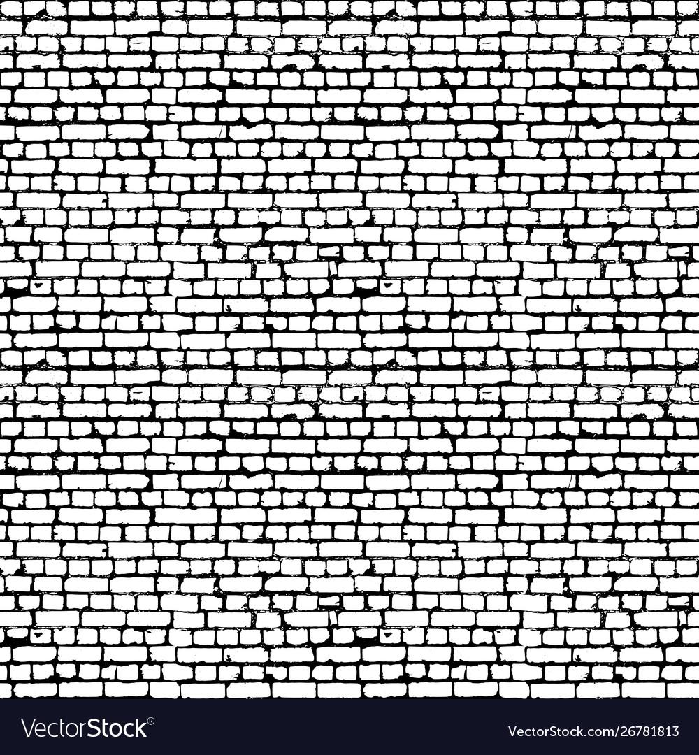Black and white brick wall seamless pattern