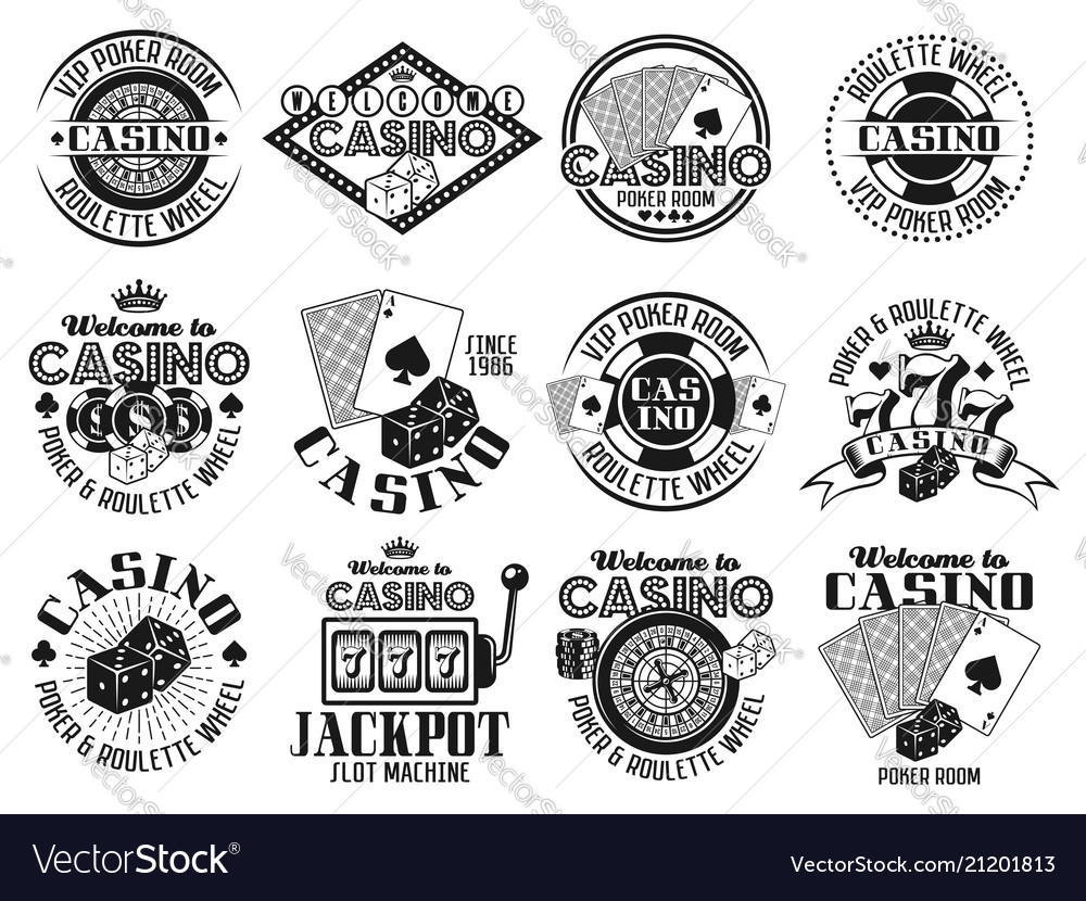 Casino and gambling emblems labels badges