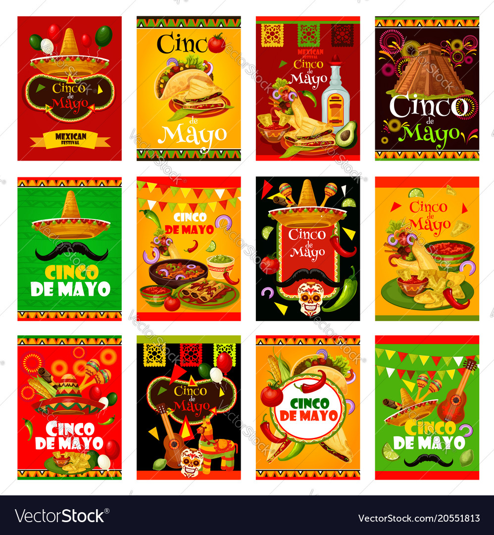 Cinco de mayo greeting card for mexican festival vector image m4hsunfo