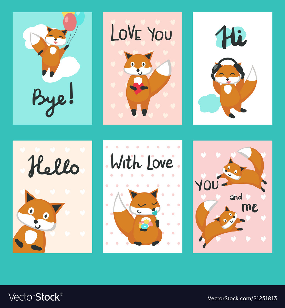 Love Foxes Greeting Cards Template Set Royalty Free Vector
