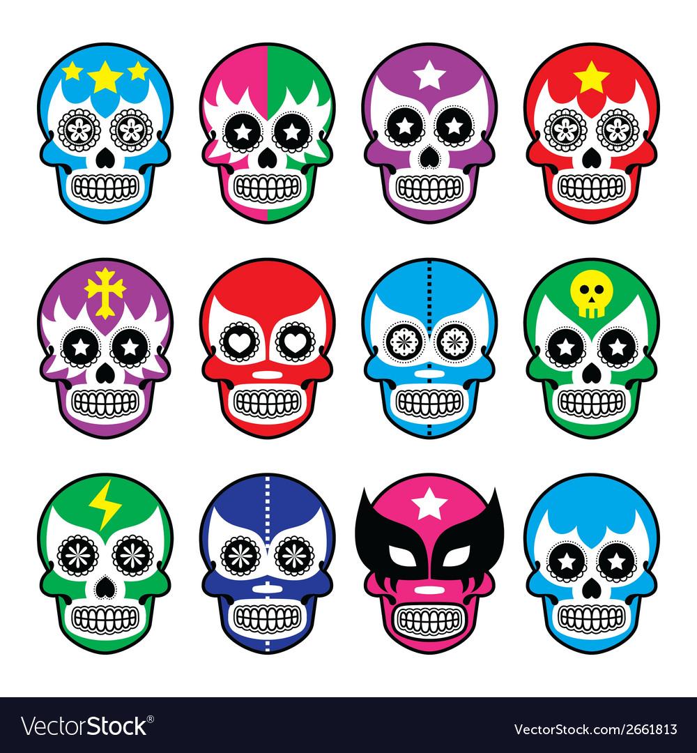 Lucha Libre - sugar skull masks icons vector image