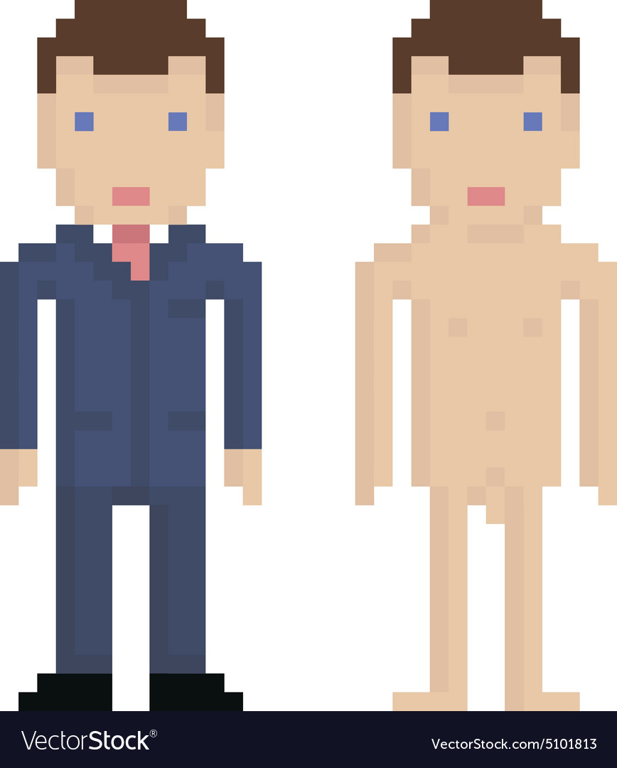 Pixel art man in blue suit and naked 8 bit retro vector image