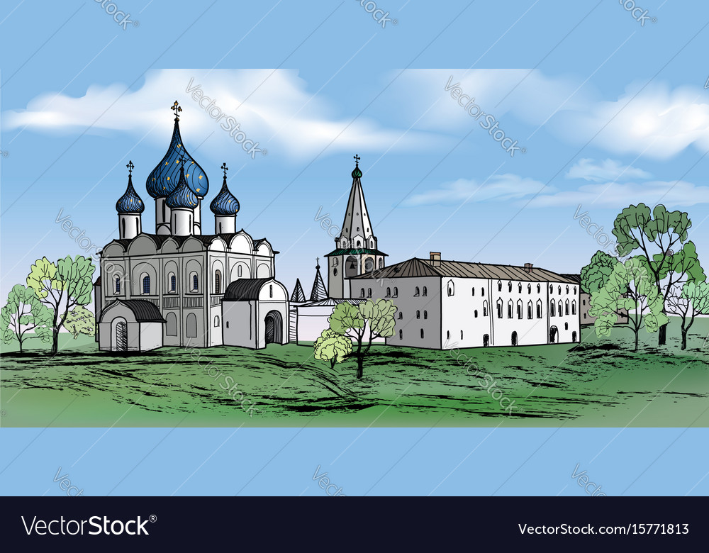 Russian suzdal city kremlin landscape travel vector image
