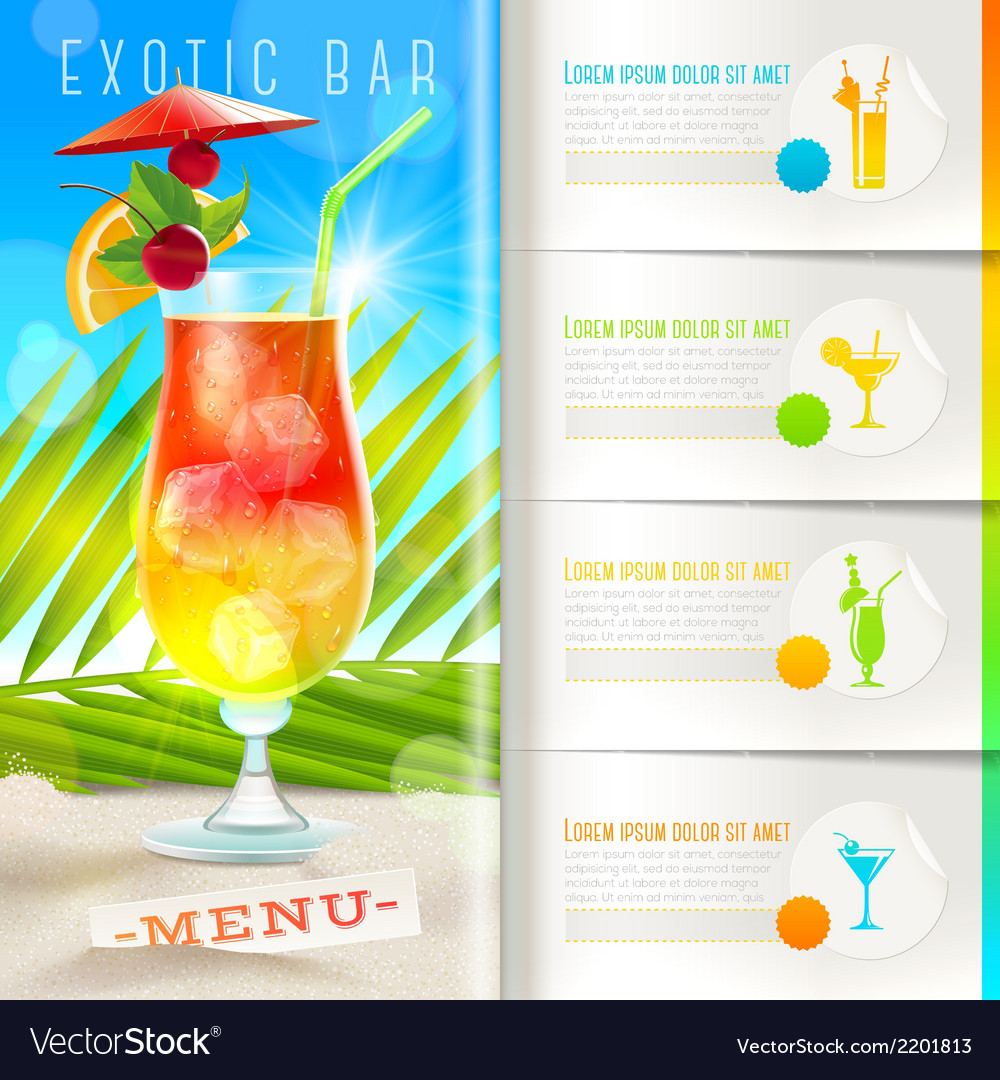Bar Menu Royalty Free Vector Image