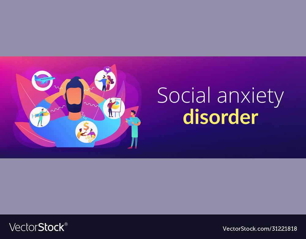 Anxiety Concept Banner Header Royalty Free Vector Image
