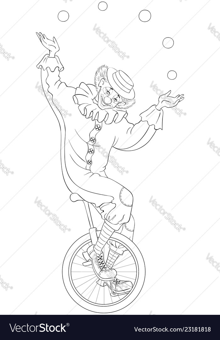 Circus Clown Juggling Balls Unicycle Coloring Page