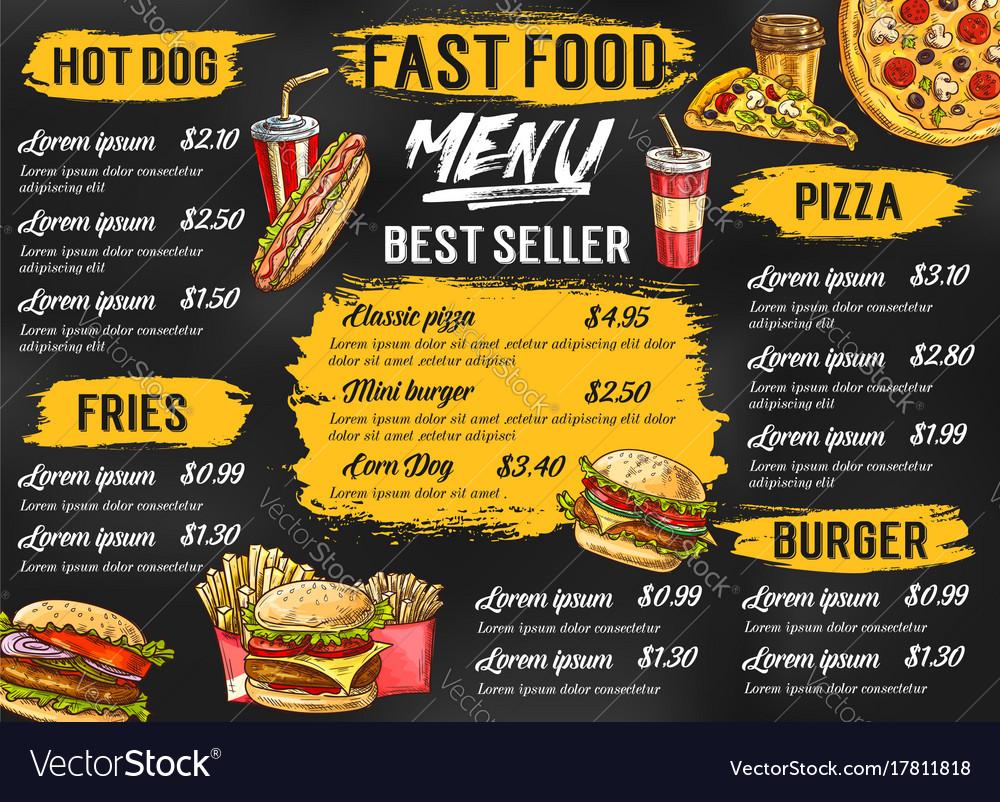 Fast food restaurant menu sketch template Vector Image