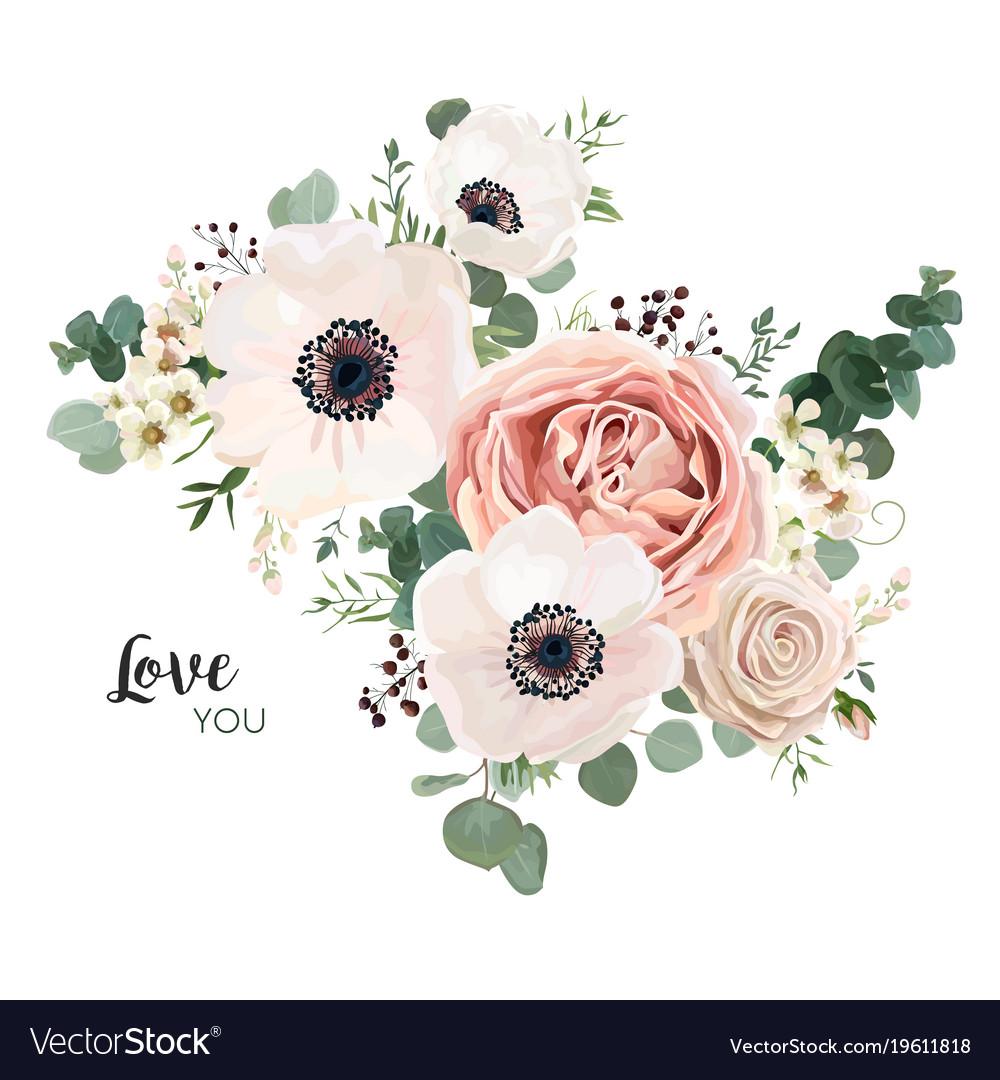 Floral card design with lavender pink flowers