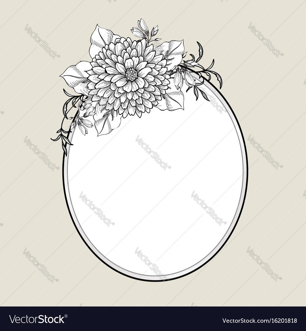 Floral frame flower greeting card border flourish vector image m4hsunfo