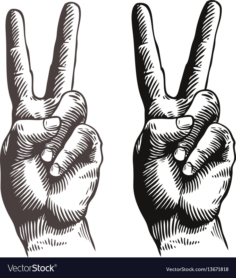 Hand gesture peace sign symbol sketch vector image