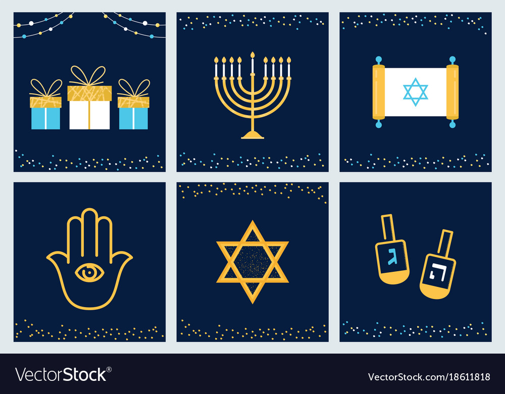 Hanukkah greeting cards with jewish symbols